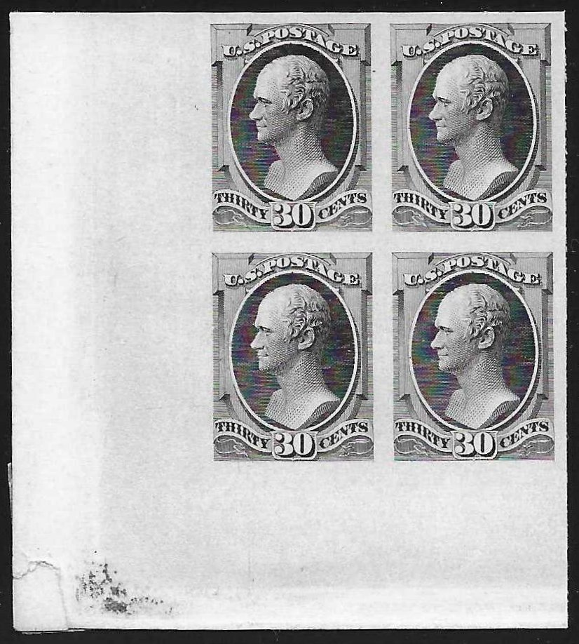 30-cent plate proof corner block of four